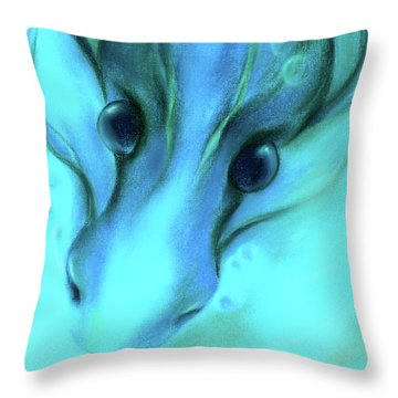 Blue Water Dragon Throw Pillow