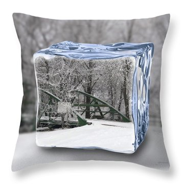 Blue Water Ice Cube Throw Pillow