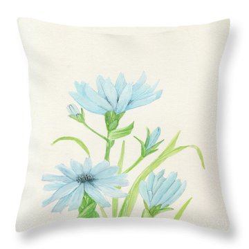 Blue Wildflowers Watercolor Throw Pillow