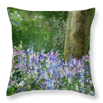 Bluebells Under The Trees Throw Pillow