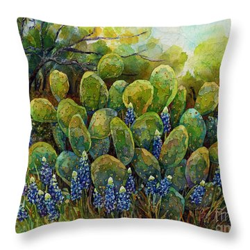Bluebonnets And Cactus 2 Throw Pillow