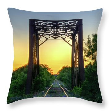 Bluebonnets On The Abandoned Railroad Throw Pillow