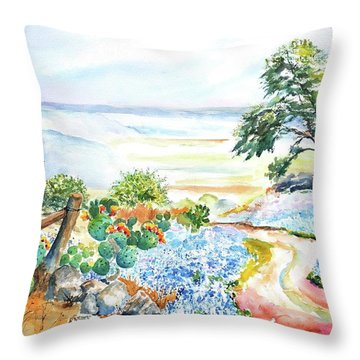 Bluebonnets - Texas Hill Country In Spring Throw Pillow