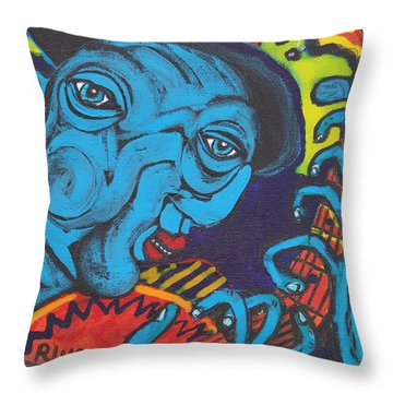 Blues Dude Throw Pillow