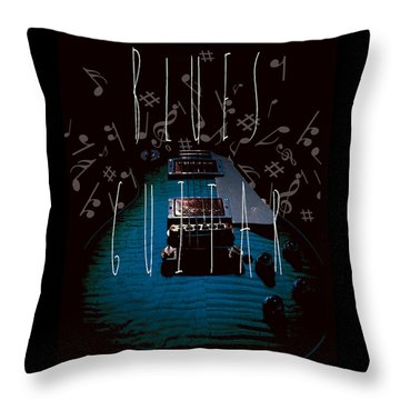 Blues Guitar Music Notes Throw Pillow