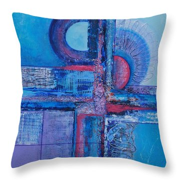 Blues With Purple Abstract Throw Pillow