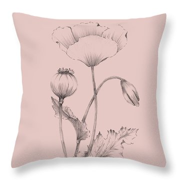 Blush Pink Flower 3 Throw Pillow