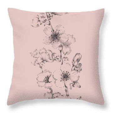 Blush Pink Flower Drawing I Throw Pillow