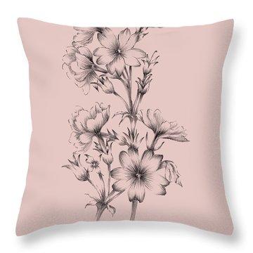 Blush Pink Flower Drawing II Throw Pillow