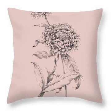 Blush Pink Flower Drawing IIi Throw Pillow