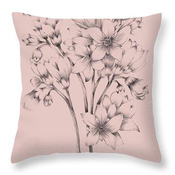 Blush Pink Flower Drawing Throw Pillow