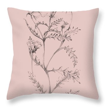 Blush Pink Flower Illustration I Throw Pillow