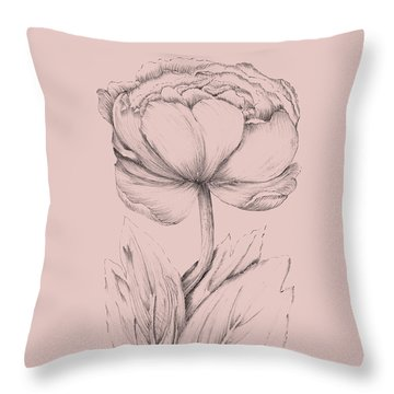 Blush Pink Flower Illustration II Throw Pillow