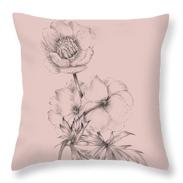 Blush Pink Flower Illustration IIi Throw Pillow