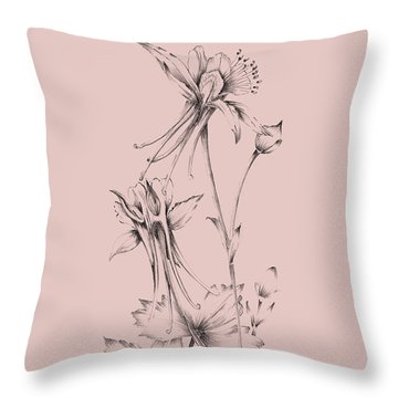 Blush Pink Flower  Throw Pillow