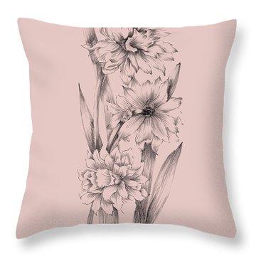 Blush Pink Flower Sketch 3 Throw Pillow