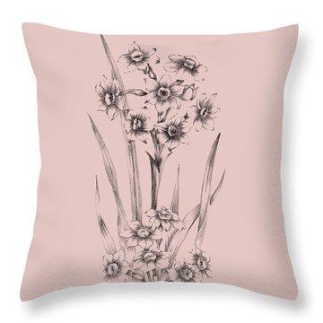 Blush Pink Flower Sketch I Throw Pillow