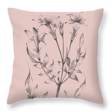 Blush Pink Flower Sketch II Throw Pillow