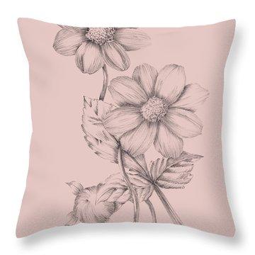 Blush Pink Flower Sketch Throw Pillow