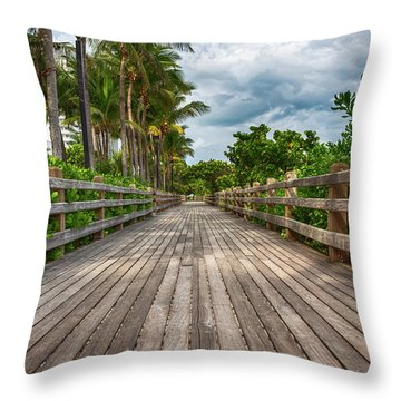Boardwalk In Miami Beach Throw Pillow