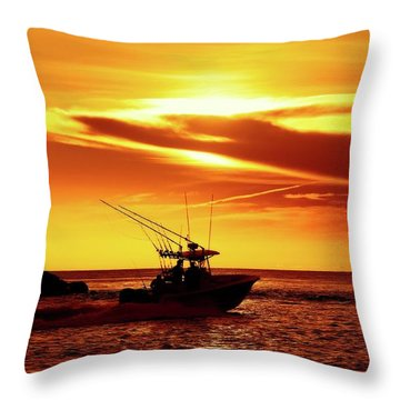 Boat Headed Out Of Jupiter Inlet Throw Pillow