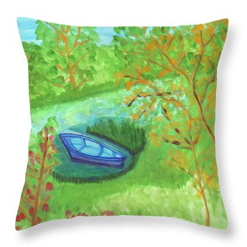 Throw Pillow featuring the painting Boat In A Quiet Backwater by Dobrotsvet Art
