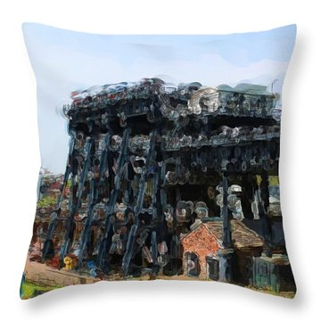 Boat Lift Throw Pillow