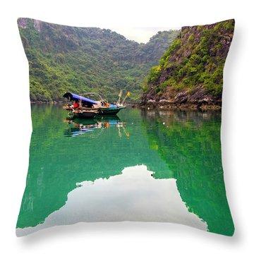 Boat On Halong Bay 2, Vietnam Throw Pillow