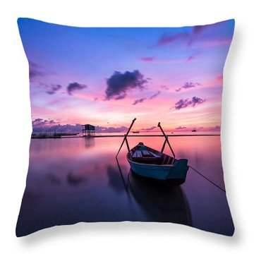 Boat Under The Sunset Throw Pillow