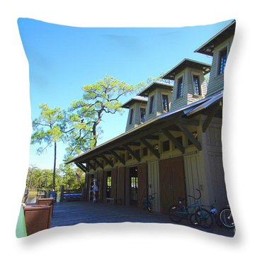 Boathouse In Watercolor Throw Pillow