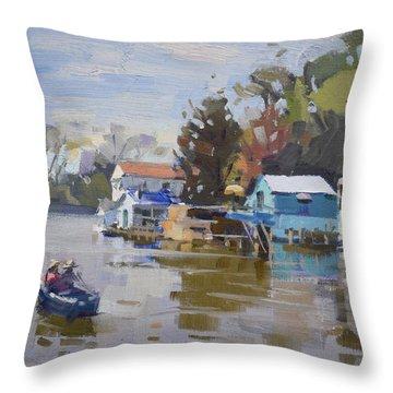 Boathouses At North Tonawanda Canal Throw Pillow