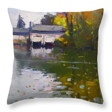 Boathouses In Fall Throw Pillow