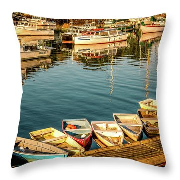Boats In The Cove. Perkins Cove, Maine Throw Pillow