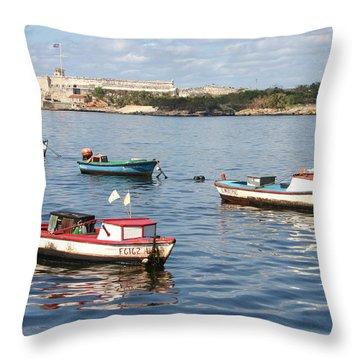Boats In The Harbor Havana Cuba 112605 Throw Pillow