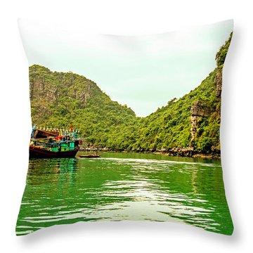 Boats On Halong Bay, Vietnam Throw Pillow