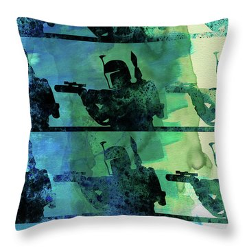 Boba Fett Collage Watercolor 1 Throw Pillow