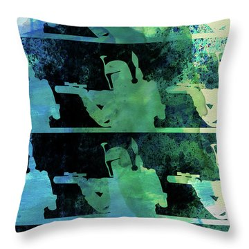 Boba Fett Collage Watercolor 2 Throw Pillow