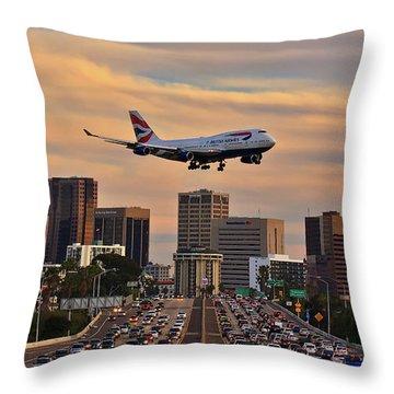 Boeing 747 Landing In San Diego Throw Pillow