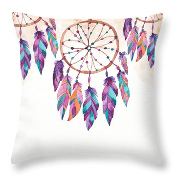 Boho Dreamcatcher - Boho Chic Ethnic Nursery Art Poster Print Throw Pillow