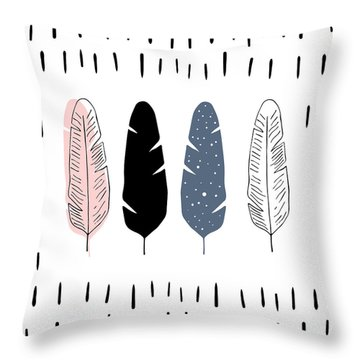 Boho Feathers - Boho Chic Ethnic Nursery Art Poster Print Throw Pillow