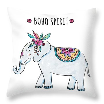 Boho Spirit Elephant - Boho Chic Ethnic Nursery Art Poster Print Throw Pillow