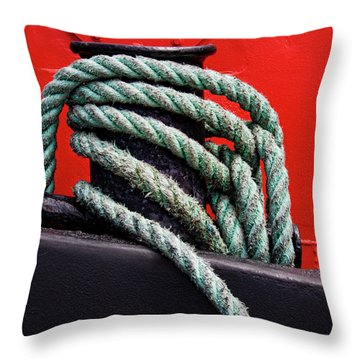 Bollard On A Bright Red Boat Throw Pillow