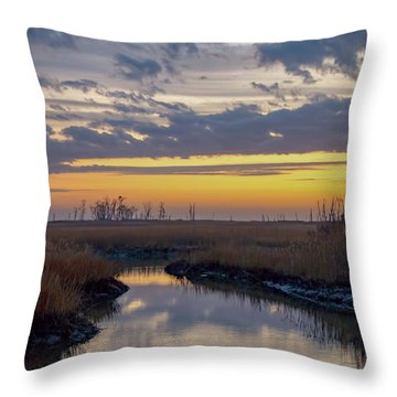 Throw Pillow featuring the photograph Bombay Hook Dawn's Early Light by Kristia Adams