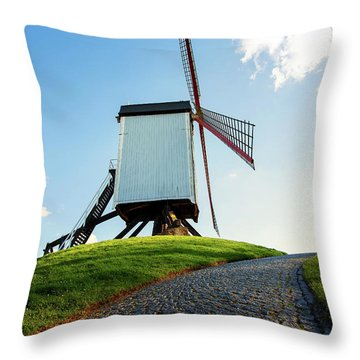 Throw Pillow featuring the photograph Bonne Chiere Windmill Bruges Belgium by Nathan Bush