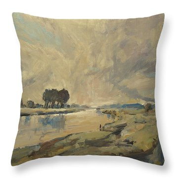 Border Maas Near Kotem With The View To Meers Throw Pillow