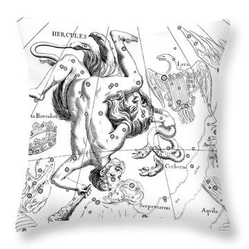 Boreal Constellations Of Hercules And Cerberus Throw Pillow