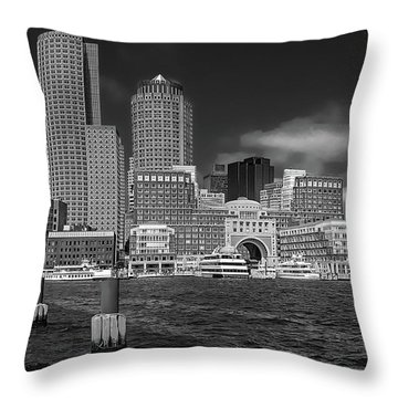 Boston Harbor Skyline Throw Pillow