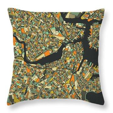Boston Map 2 Throw Pillow