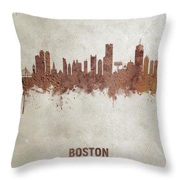 Boston Massachusetts Rust Skyline Throw Pillow
