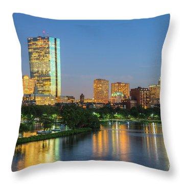 Boston Night Skyline II Throw Pillow